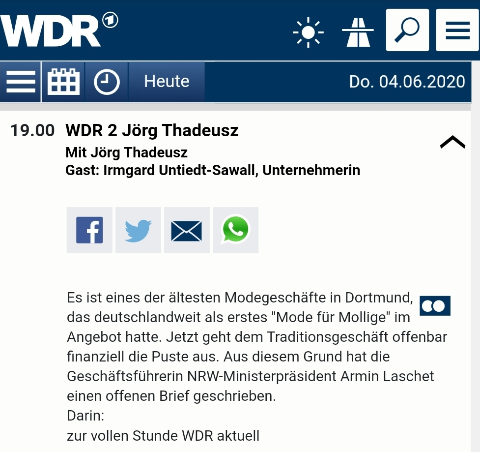 Programmhinweis WDR